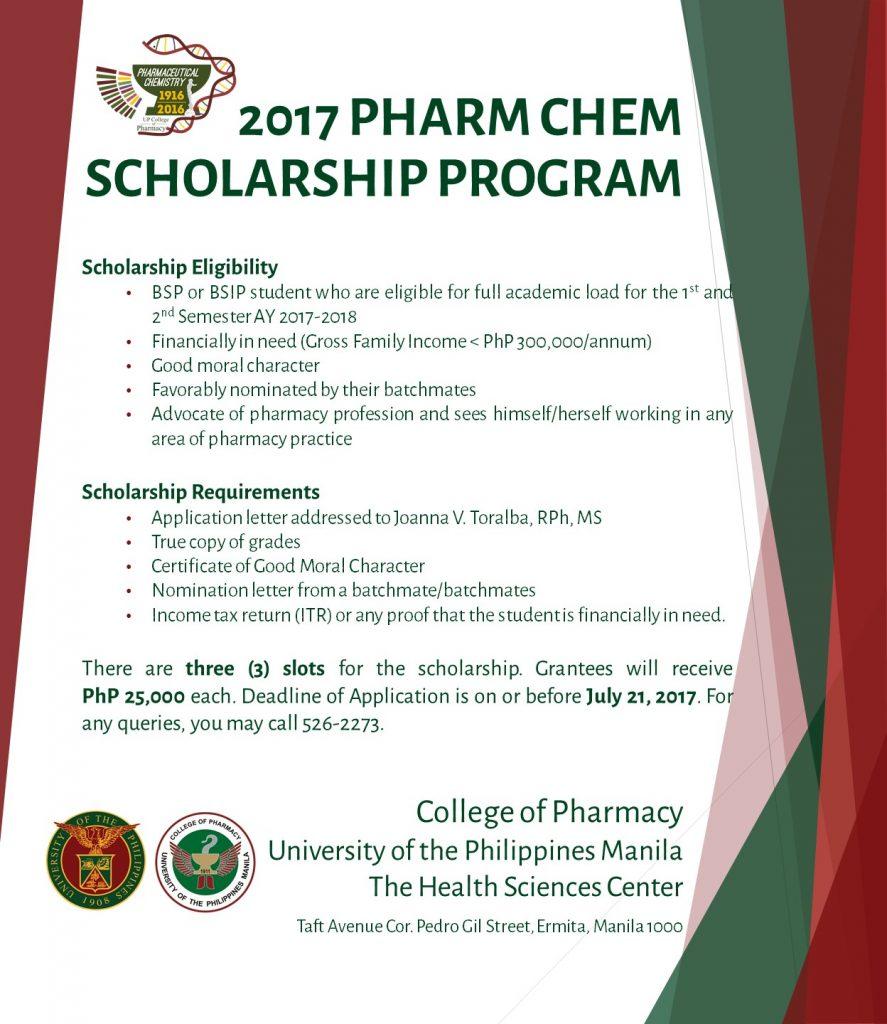 Pharmaceutical Chemistry Scholarship 2017 College Of Pharmacy