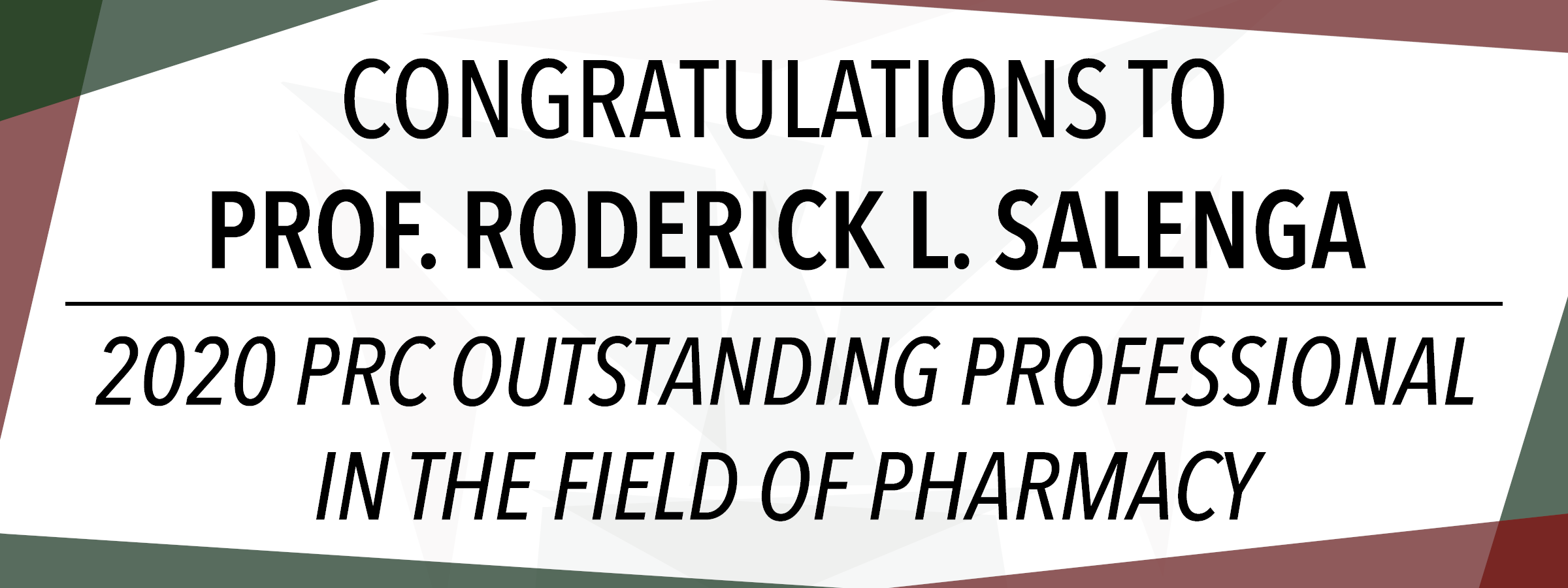 Congratulations To Prof. Eric Salenga!